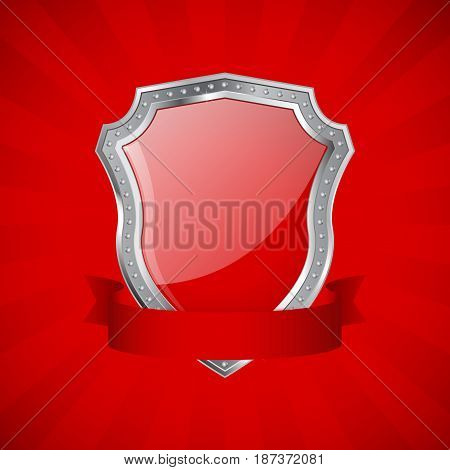 Shield. Red glossy shield with metal frame and ribbon. Vector illustration