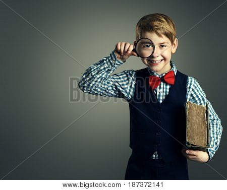 Child with Book and Magnifying Glass School Kid Education Happy Student Boy with Magnifier