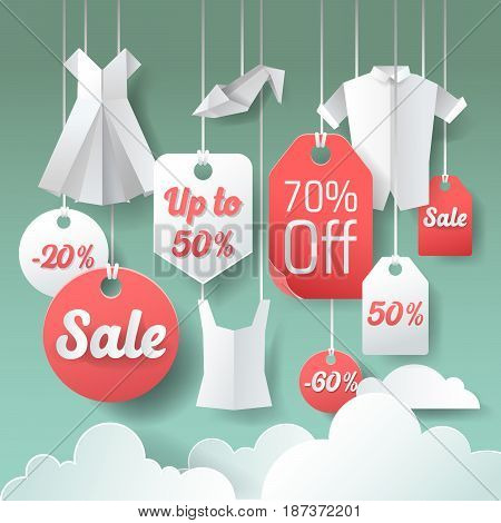 Paper Cut Out Sale Tags. Discount Poster Design. Special Offer Paper Banner. Vector illustration