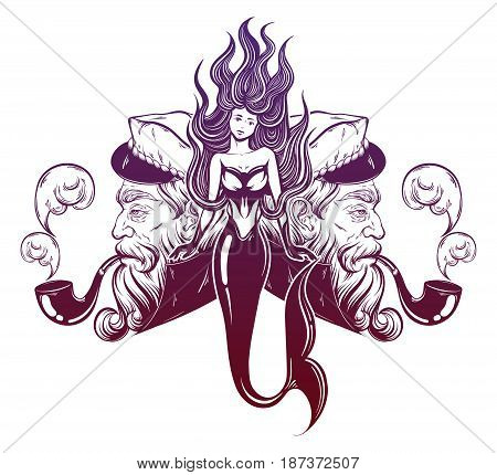 Vector hand drawn illustration of captain with pipe and mermaid. Tattoo artwork in realistic style. Template for card poster banner print for t-shirt coloring books.
