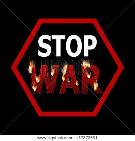 Sign of feet war. The burning word war punched by bullets. Concept of the global conflict. Design element. Press. Vector illustration.