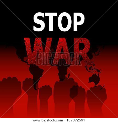 Stop war. Concept of the ban of military operations. Stop of the global conflict. Fight for peace. Press. Vector illustration.