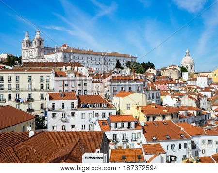 Lisbon, Portugal Town Skyline At The Alfama
