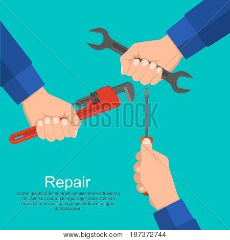 Hands hold a wrench the screw-driver an adjustable spanner. Concept of repair and construction works. Technical service. A vector illustration in flat style. Design elements.