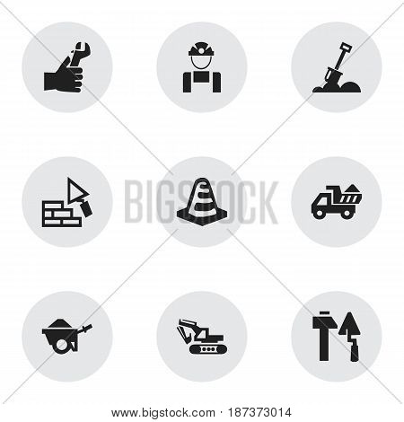 Set Of 9 Editable Structure Icons. Includes Symbols Such As Notice Object, Excavation Machine, Facing And More. Can Be Used For Web, Mobile, UI And Infographic Design.