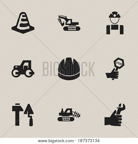 Set Of 9 Editable Building Icons. Includes Symbols Such As Caterpillar, Notice Object, Mule And More. Can Be Used For Web, Mobile, UI And Infographic Design.
