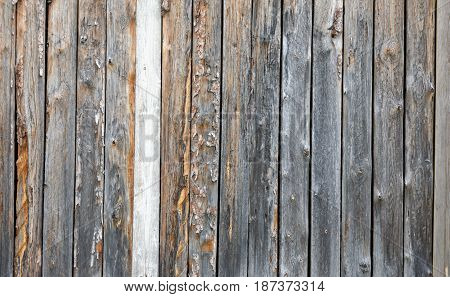 A fence made of boards. The texture of the wooden fence. The old dark boards, standing vertically. The boards soaked in the rain.For photomontage and collage. Fence for graffiti.