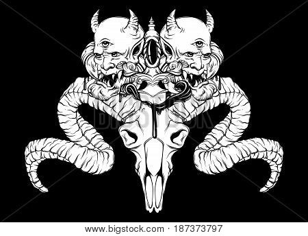 Vector hand drawn surreal illustration. Tattoo artwork. Composition with ram skull vintage dagger and devil. Template for card poster banner print for t-shirt coloring book.