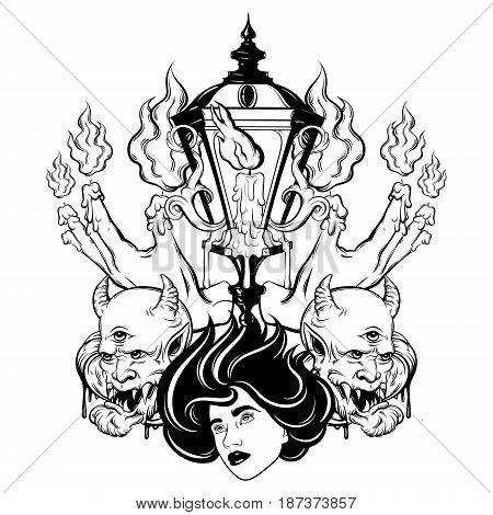 Vector hand drawn surreal illustration of melting hands woman face devil vintage lantern. Tattoo artwork. Template for card poster banner print for t-shirt coloring book.