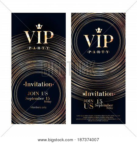 VIP club party premium invitation card poster flyer. Black and golden design template. Metallic circles pattern decorative vector background.