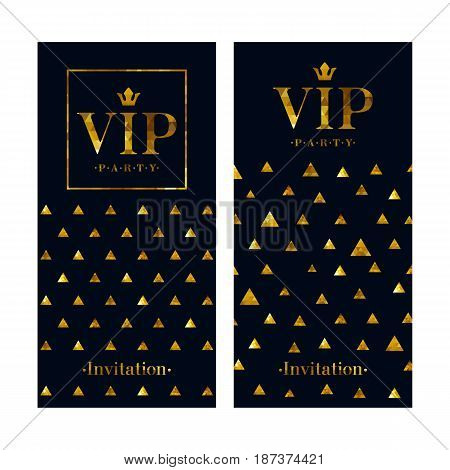 VIP club party premium invitation card poster flyer. Black and golden design template. Golden mosaic faceted triangles pattern decorative vector background.
