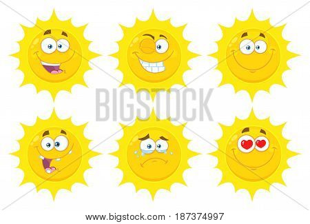Funny Yellow Sun Cartoon Emoji Face Series Character Set 1. Flat Design Collection Isolated On White