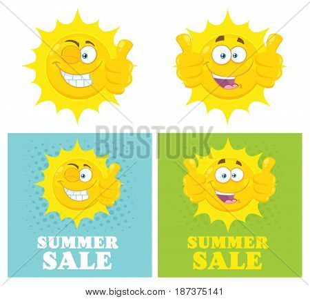 Happy Yellow Sun Cartoon Emoji Face Character Giving Thumbs Up. Flat Design. Illustration With Halftone Background And Text Summer Sale