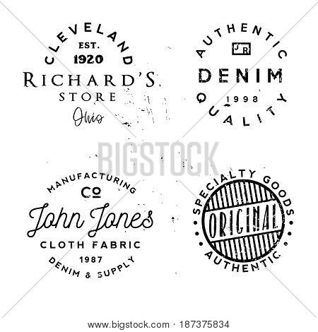 Vector clothing theme badges. Authentic denim, cloth fabric and other apparel related phrases in logos. Typography and rough style