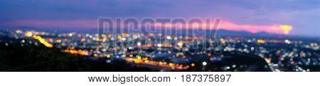 Panorama night city lights bokeh background. Bokeh light vintage background.