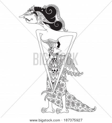 Emban, a character of traditional puppet show, wayang kulit from java indonesia.