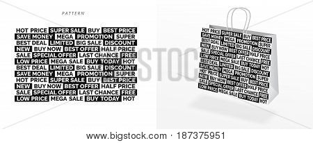 Shopping bag and seamless pattern vector image. Different words about sales discount and bonuses.