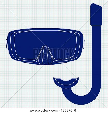 Dive Mask and tube for diving. icon. Vector illustration on Notebook sheet   background