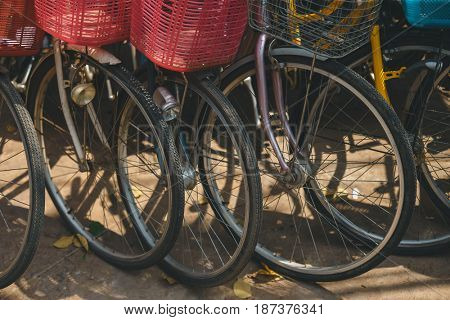Bicycles for rent standing on the street