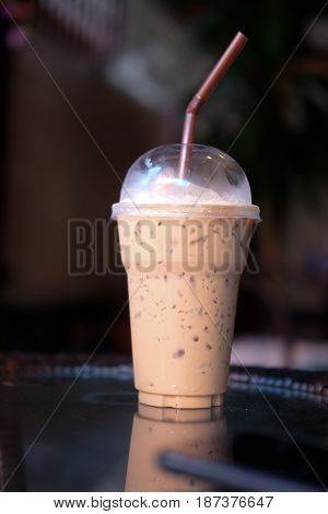 iced coffee latte on table in coffee shop