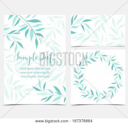 Vector illustration decoration of branches and leaves in a circle