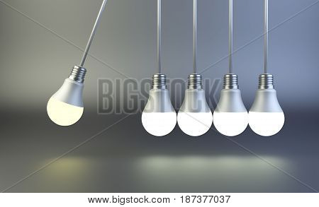 Newton's cradle made of light bulbs. Idea motion concept. 3D illustration on a grey background.