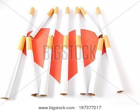 Heart breaking cigarette bars on a white background.