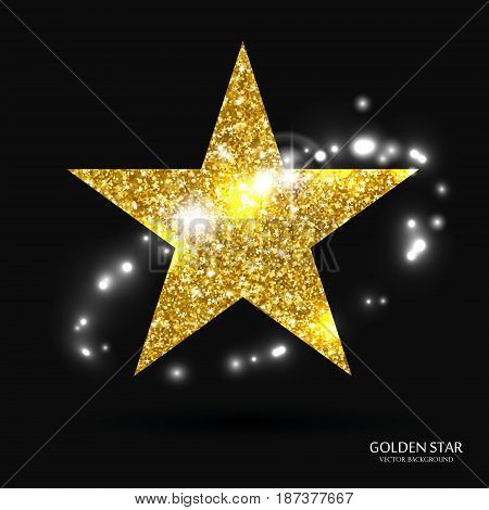 Golden star vector banner. Gold glitter star. Gold template star for banner, card, vip, exclusive, certificate, gift, luxury, privilege voucher store present shopping