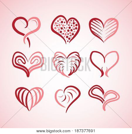 hearts Collection included elegant,modern and beautiful hearts , dotted heart, line heart, furry heart, simple heart, heart with crossed lines, outline of heart, clasp heart.