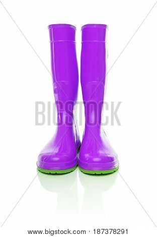 Purple rubber boots. Isolated on white background.