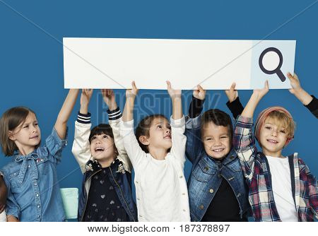 Group of children with searching sign