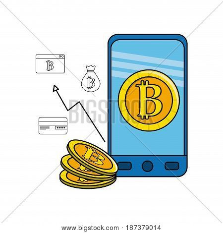 smartphone with bitcoin inside and icons outside, vector illustration