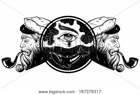Vector hand drawn illustration of captain with pipe. Surrealistic landscape with eyes whale water. Tattoo artwork in realistic style. Template for card poster banner print for t-shirt coloring books.