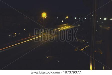 Light Streak Two Cars Low Light Road