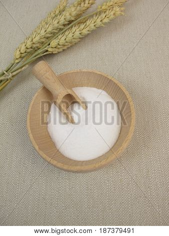 Dextrose from wheat starch in wooden bowl poster