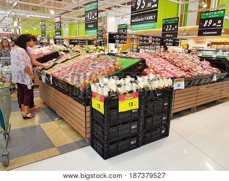 CHIANG RAI THAILAND - MAY 16 : interior area of supermarket with customers on May 16 2017 in Chiang rai Thailand.