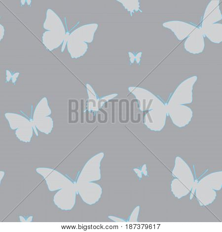 Seamless pattern of butterflies with a blue contour. A vector picture of moths on a gray background.