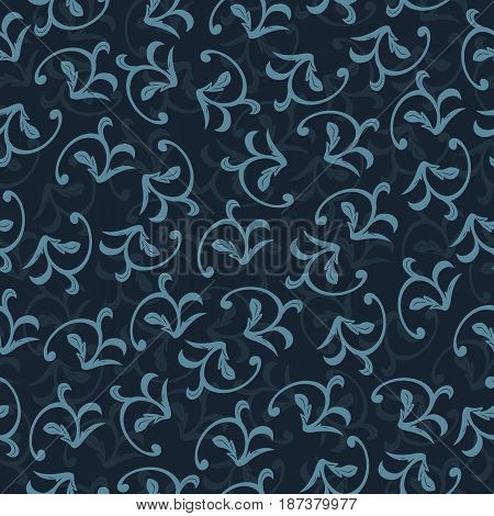 seamless damask pattern in dark blue. Vintage ornament. background for wallpaper printing on the packaging paper textiles tile.