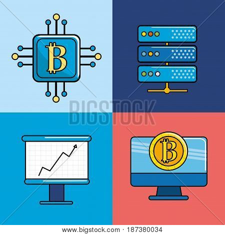 digital and virtual elements of bussines and currency, vector illustration