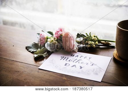 Ranunculus Flowers Bouquet with Happy Mothers Day Wishing Card