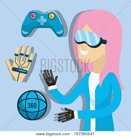 woman inside to virtual reality experience, vector illustration
