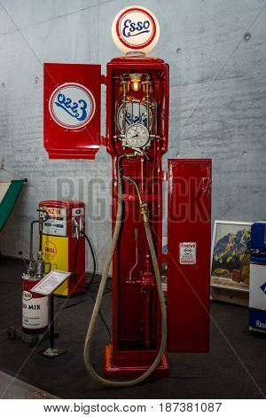 STUTTGART GERMANY - MARCH 04 2017: Retro fuel dispenser by ESSO. Manufacturer Koerting Hannover. Europe's greatest classic car exhibition