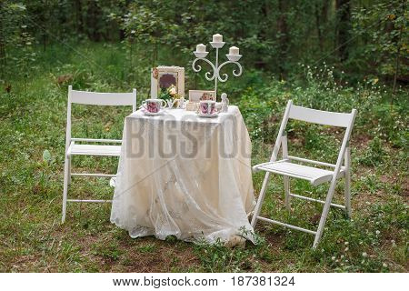 Wedding Decoration. Beautiful Table For A Romantic Date In The Woods Or Offer Of Marriage