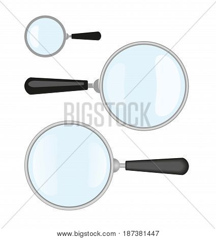 Magnifiers. Vector Illustration Of Magnifier and It's Flat Design and Simple Versions