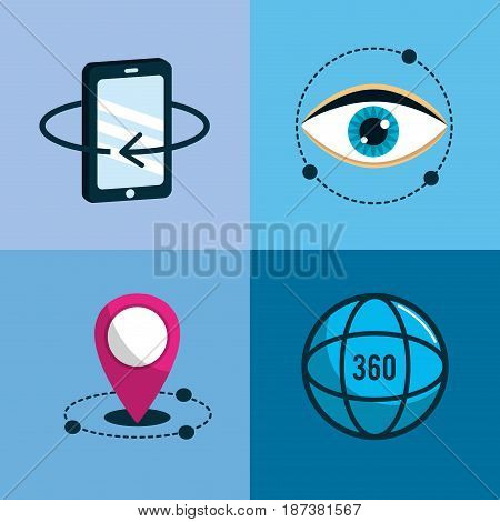 virtual reality with digital technology elements, vector illustration