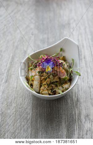 Stir-fried Vegetable Salad In Bowl On Wooden Surface