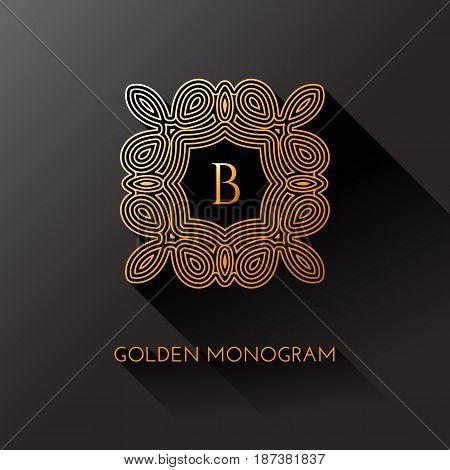 Golden elegant monogram with letter B. Template design for monogram label logo emblem. Vector illustration.