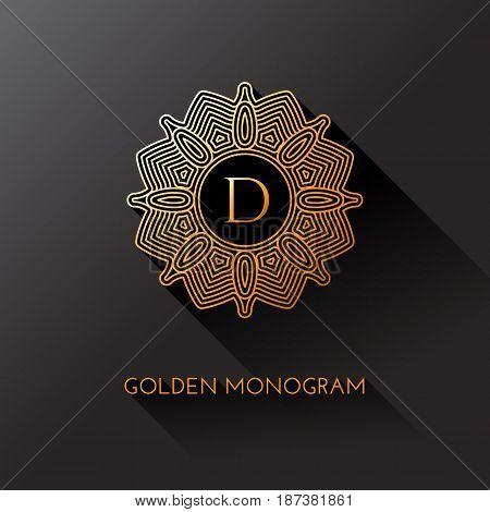 Golden elegant monogram with letter D. Template design for monogram label logo emblem. Vector illustration.
