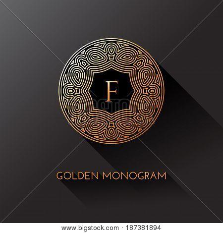 Golden elegant monogram with letter F. Template design for monogram label logo emblem. Vector illustration.