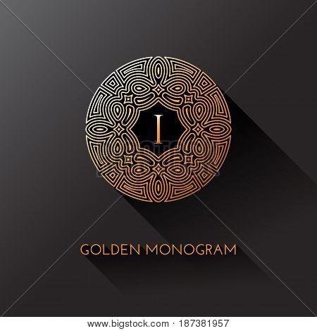 Golden elegant monogram with letter I. Template design for monogram label logo emblem. Vector illustration.